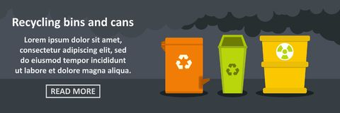 Recycling bins and cans banner horizontal concept Stock Image