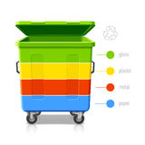 Recycling bins colors infographics. Illustration Royalty Free Stock Photos