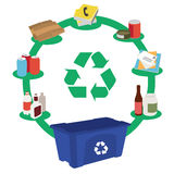 Recycling bins concept with garbage separation. Vector illustration of recycling bins concept with garbage separation Stock Illustration