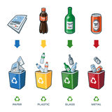 Recycling Bins For Paper Plastic Glass Metal Trash Stock Photos
