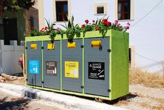 Recycling bins, Halki island. Household waste recycling bins at Emborio on the Greek island of Halki on June 16, 2017. The scheme was started in 2013 Stock Images