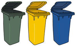 Recycling bins. Hand drawing of three recycling containers Stock Photos