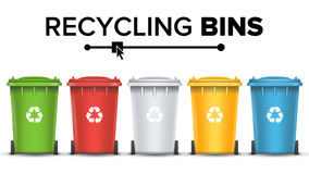 Recycling Bins Isolated Vector.. Realistic Containers For Recycling Waste Sorting Vector. Set Of Red, Green, Blue, Yellow Buckets Stock Photography