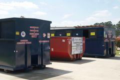 Recycling Bins in Lufkin, Texas with Blue Sky Royalty Free Stock Photography