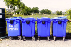 Recycling bins for paper and cardboard Stock Image