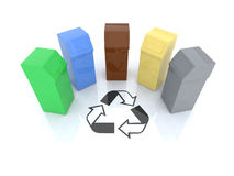 Recycling bins with recycling mark Royalty Free Stock Images