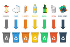 Recycling bins separation. Waste management vector Stock Photography