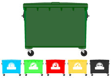Recycling bins set. Set of colorful recycling bins with signs. Place for any text Stock Images