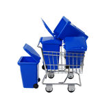 Recycling bins in shopping cart Royalty Free Stock Photos
