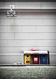 Recycling bins under Camera Stock Images