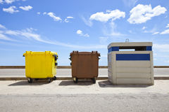Recycling bins,. Valencia Region, Spain Stock Images