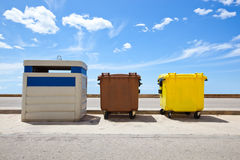 Recycling bins, Valencia Region, Spain Royalty Free Stock Photos