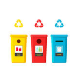 Recycling bins vector illustration isolated on white background. Recycle bin for different waste type, trash sorting boxes, flat cartoon garbage cans with Royalty Free Stock Photography