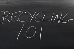 Recycling 101 On A Blackboard Stock Photography