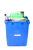 Recycling blue bin Royalty Free Stock Photos