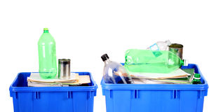 Recycling blue bins stock photo