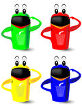 Recycling in blue, yellow, green and red dustbins Royalty Free Stock Images