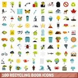 100 recycling book icons set, flat style. 100 recycling book icons set in flat style for any design vector illustration stock illustration