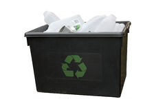 Recycling Box. A recycling box containing bottles and cans. Isolated with path Stock Image