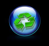 Recycling button in 3d Royalty Free Stock Image