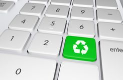 Recycling Button. Green Recycling Button on the Keyboard. Push to Recycle! Ecology Online Education Illustration Stock Images