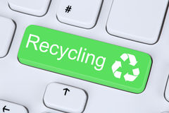 Recycling button for recycle natural conservation on computer Stock Image