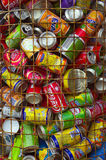 Recycling cans. ERICEIRA, PORTUGAL - October 1: used aluminum cans are deposited in a container. The cans will generate new products after being recycling in