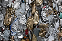 Recycling cans. Flattened cans at a recycling facility Stock Images