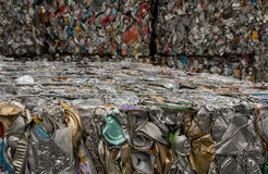 Recycling cans. Tin cans are crushed into cubes to be sent to a recycling facility Stock Images