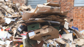 Recycling of cardboard at industrial landfill, ecology concept Stock Photo