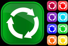 Recycling circle. Icon of recycling circle on shiny square buttons Stock Photo