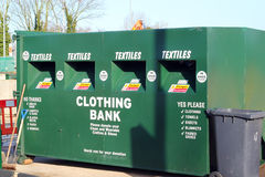 Recycling-clothing bank. Royalty Free Stock Image