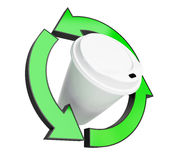 Recycling coffee cup on white background Royalty Free Stock Image