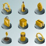 Recycling color isometric icons. Vector illustration, EPS 10 Vector Illustration