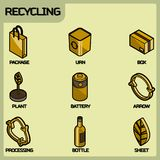 Recycling color outline isometric icons stock illustration