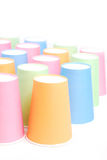Recycling colorful paper glass. Row of recycling paper glass Stock Image