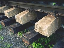 Recycling company stock. Rail platform with extracted  old rails and sleepers Royalty Free Stock Images