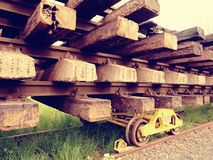 Recycling company stock. Rail platform with extracted  old rails and sleepers Stock Photos