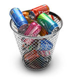 Recycling concept. Drink cans in the trash bin Royalty Free Stock Photography