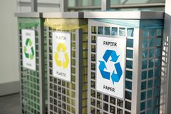 Recycling concept. bins for different garbage. Waste management concept. Waste segregation. Separation of waste on garbage cans. Sorting waste for recycling royalty free stock photo