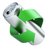 Recycling concept with drink can. 3D illustration Stock Images