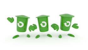 Recycling concept with green garbage bin. Three green garbage bin with a recovery icon on a white background, 3d recycling image Royalty Free Stock Image