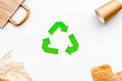 Recycling concept. Paper waste. White background top view. Recycling concept with paper waste. White background top view Royalty Free Stock Photos