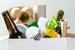 Recycling concept - recyclable materials in box stock photos