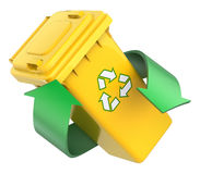 Recycling concept with recycle bin and green arrows. 3D recycling concept with recycle bin and green arrows - 3D illustration Stock Images