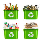 Recycling concept. A selection of garbage for recycling. Segregated metal, plastic, paper and glass royalty free stock photos