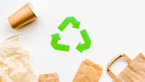 Recycling concept. Paper waste. White background top view copy space Royalty Free Stock Image