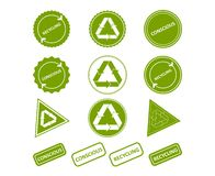 Recycling. Conscious consumption. Set of stamps, stickers vector illustration