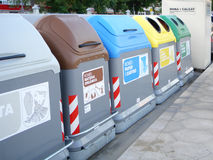 Recycling container. Compartmentalized recycling container on metal base Stock Photos