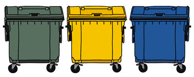 Recycling containers. Hand drawing of three recycling containers Stock Images